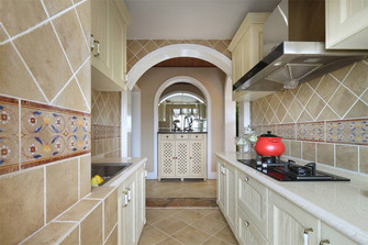 110平米三室两厅田园风格厨房装修案例