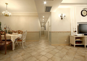 140平米三室两厅田园风格走廊装修图片大全