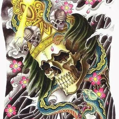 满背画稿纹身款式图