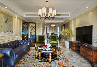 120平米四室两厅新古典风格客厅装修图片大全
