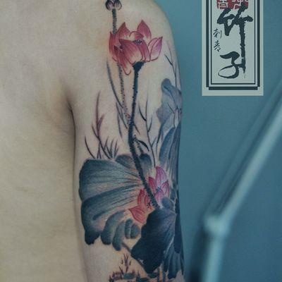 水墨荷花3纹身款式图