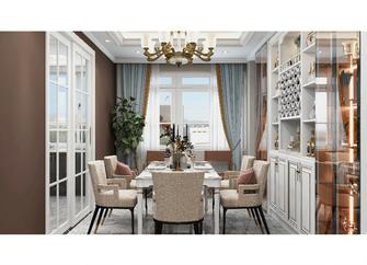120平米三室两厅美式风格餐厅图