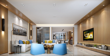140平米四室三厅现代简约风格客厅图片大全