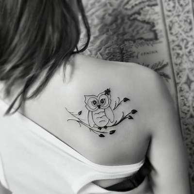 可爱猫头鹰纹身图
