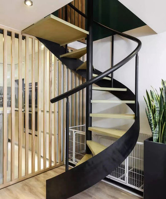 80平米一室一厅混搭风格楼梯间图