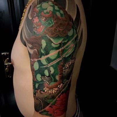 唐狮子纹身款式图