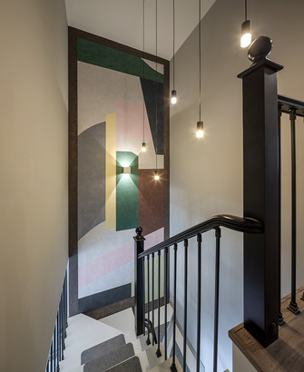 90平米复式混搭风格楼梯间装修图片大全