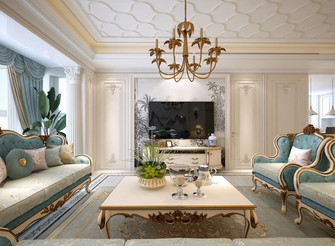 120平米法式风格客厅效果图