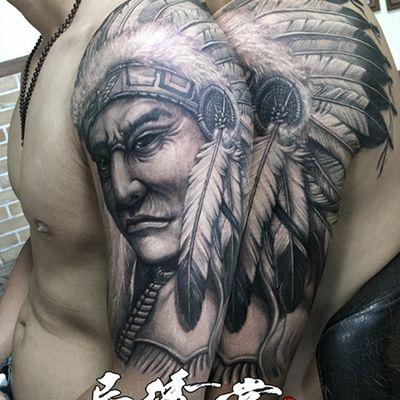 黑白印第安人纹身款式图