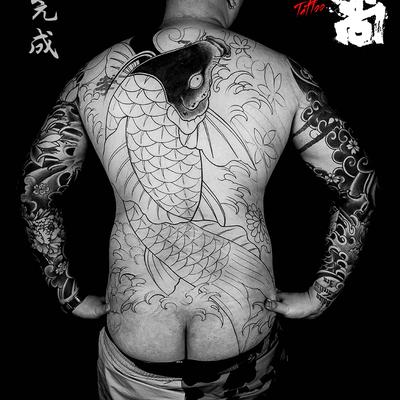 日式满背纹身图