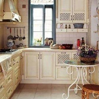 140平米三室一厅田园风格厨房图片
