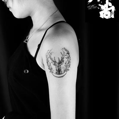 手臂鹿纹身图