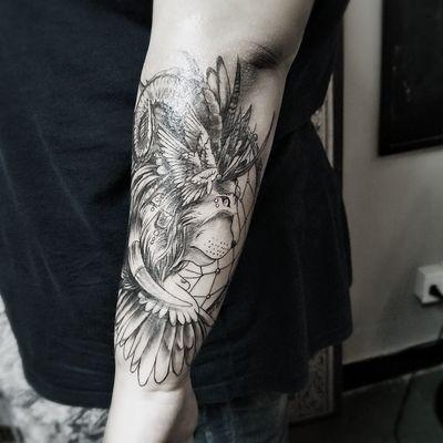 酷炫狮子纹身款式图