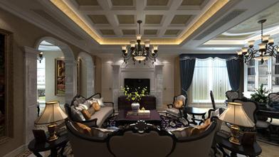 60平米别墅欧式风格客厅效果图
