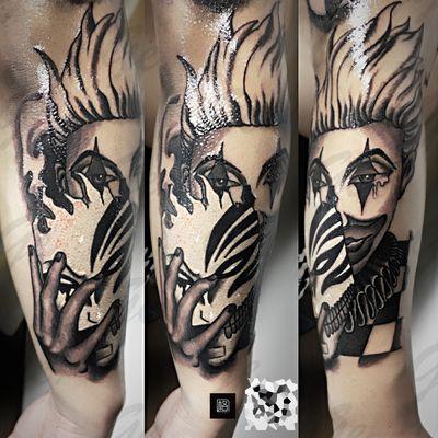 小丑 花臂一部分纹身款式图