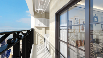 90平米三室两厅现代简约风格阳台图