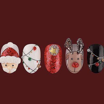 圣诞卡哇伊美甲款式图