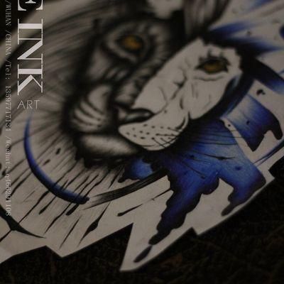 水彩狮子纹身款式图