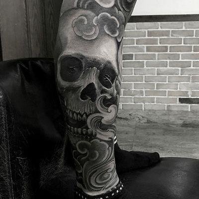 欧美素描黑白骷髅纹身图