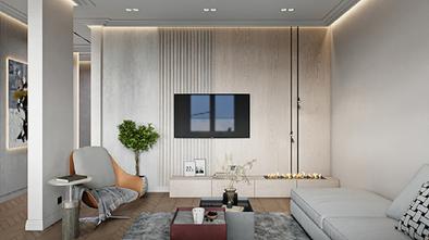 80平米一室两厅现代简约风格客厅图片大全
