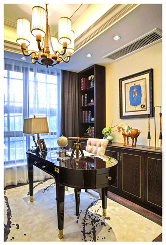 140平米四室两厅中式风格书房设计图