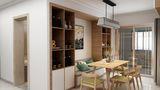 130平米三室两厅田园风格餐厅图片