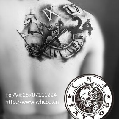 帆船罗马钟纹身图