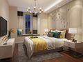 70平米现代简约风格卧室背景墙装修效果图