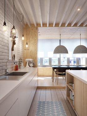 經濟型50平米小戶型現代簡約風格廚房設計圖