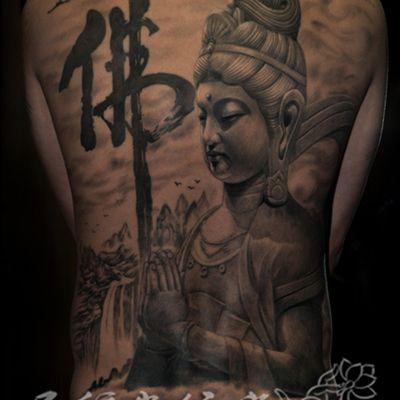 石雕文殊菩萨满背纹身款式图