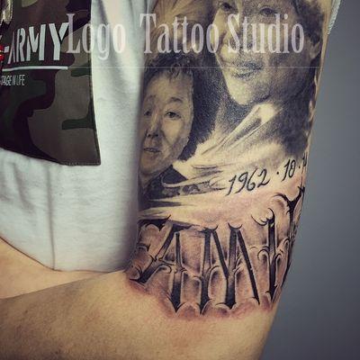 黑白肖像写实纹身图