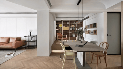 130平米三室两厅现代简约风格餐厅设计图