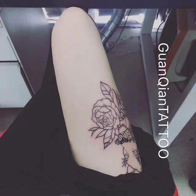 原创狮子线条纹身款式图