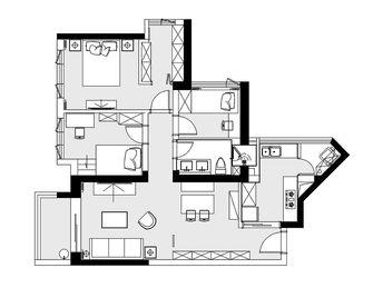 110平米三室两厅北欧风格客厅图