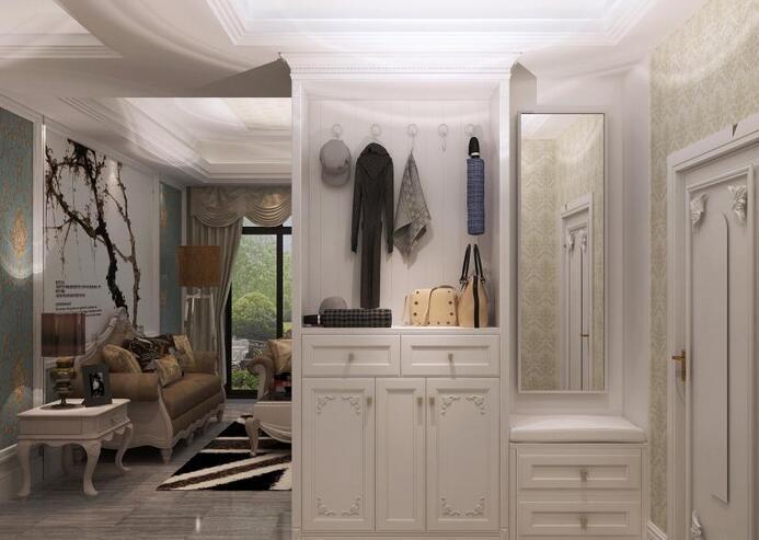 这个客厅进门玄关隔断的设计是一个镂空装饰收纳柜,在上面可以放置这人喜欢的书籍和一些工艺饰品。这样的设计在进门是通过镂空的隔断还可以看到一家钢琴,可以看出主人是一个很注重生活的人。同时也体现了一种若隐若现的美感,为整个家居增添了一份别致。