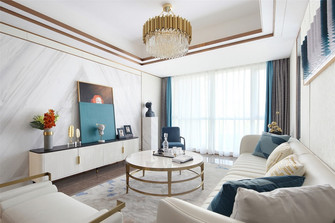 100平米三室两厅混搭风格客厅图