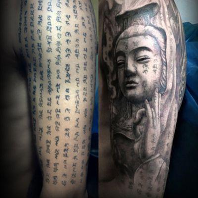 黑白观音遮盖经文纹身款式图