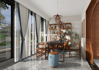 100平米三室两厅中式风格阳光房装修效果图