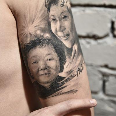 黑白肖像写实纹身款式图