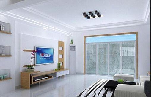 这款无吊顶客厅装修效果图中,也是采用了无吊顶的装饰,沙发选择红绿