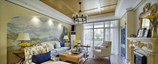 90平米三室两厅地中海风格客厅装修效果图