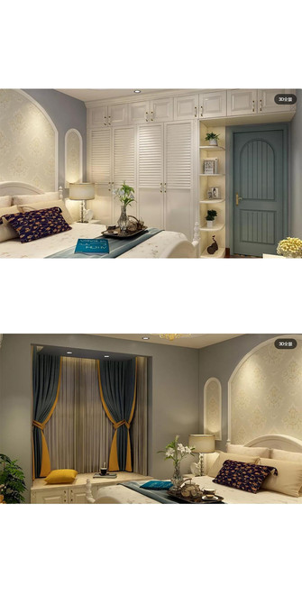 110平米三地中海风格卧室装修图片大全