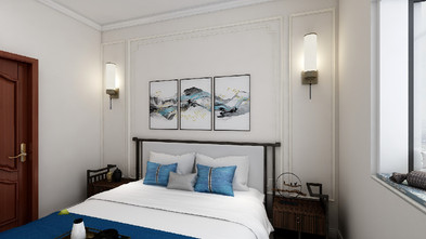90平米三室三厅中式风格卧室图