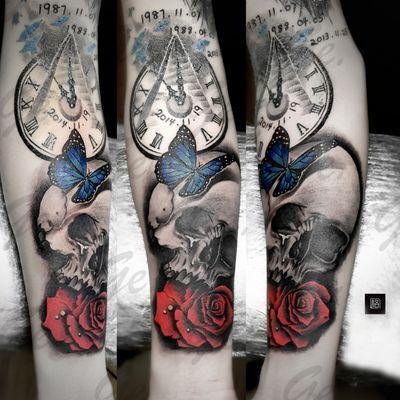 欧美skull&玫瑰纹身图
