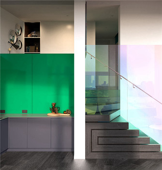 120平米三室两厅混搭风格楼梯间图