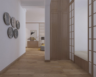 90平米三室两厅日式风格走廊欣赏图