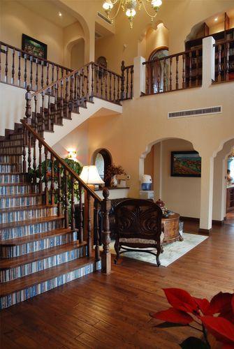 140平米别墅地中海风格楼梯间装修图片大全