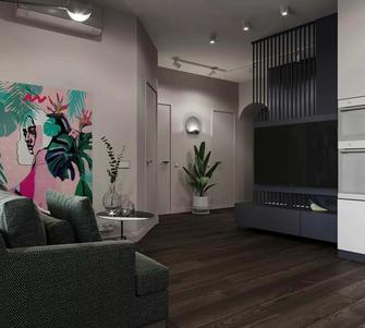 60平米一居室新古典风格客厅图片