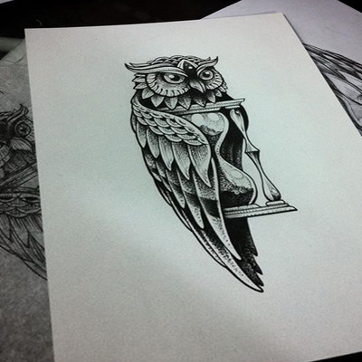 猫头鹰手稿纹身图